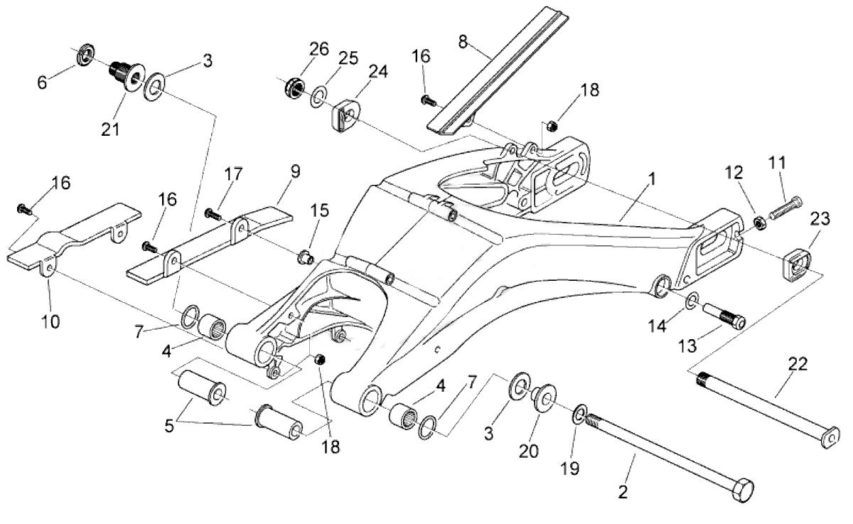 Aprilia AF1 Futura 125 Swinging Arm socket swingarm, swing arm